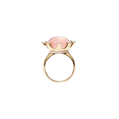 Pisa Pillar Rose Quartz Diamond Ring - IT18 FAO