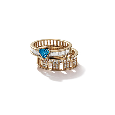 Colosseum Blue Topaz Diamond Ring - IT 18 FAP
