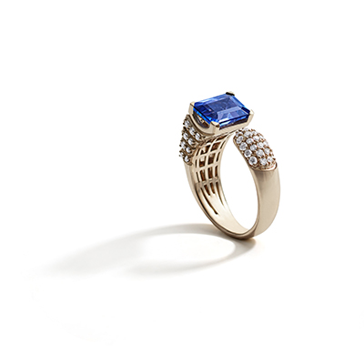 St. Peter's Square Blue Tanzanite  Diamond Ring - IT18 FAS