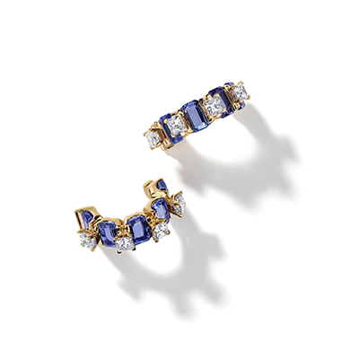 Pantheon Dome Blue Tanzanite Diamond Earrings - IT18 HAA