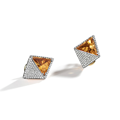 Pantheon Citrine Diamond Earrings - IT 18 SAK